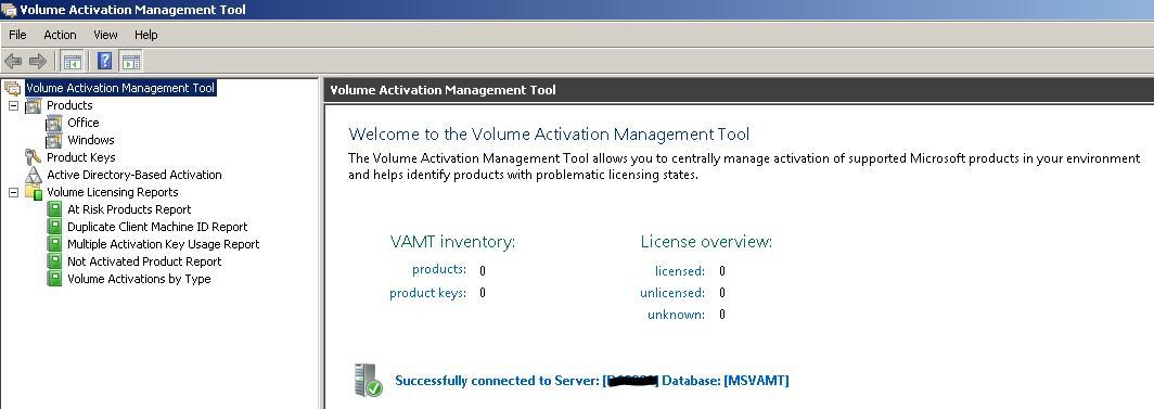 Внешний вид консоли VAMT 3.0