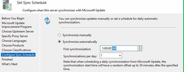 Параметры синхронизации wsus в windows server 2012