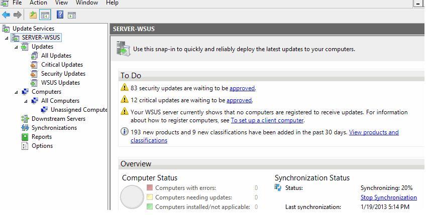 Консоль управления wsus в windows server 2012