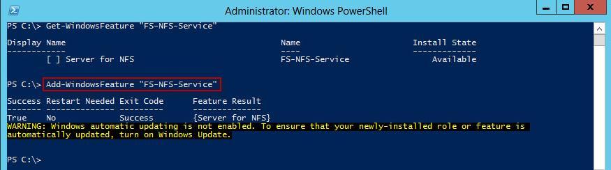 powershell - как установить nfs-сервера в windows 2012