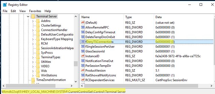 fDenyTSConnections - параметр реестра для включения rdp в windows