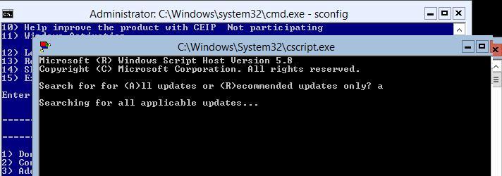 поиск обновлений на windows server 2012