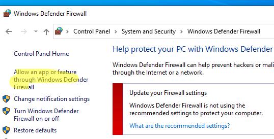 настройки Windows Defender Firewall
