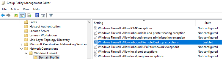 параметр GPO для разрешения RDP трафика -  Windows Firewall: Allow inbound Remote Desktop Exceptions