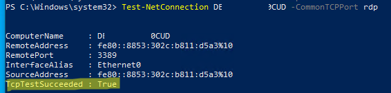 проверить, что на компьютере открыт rdp порт 3389