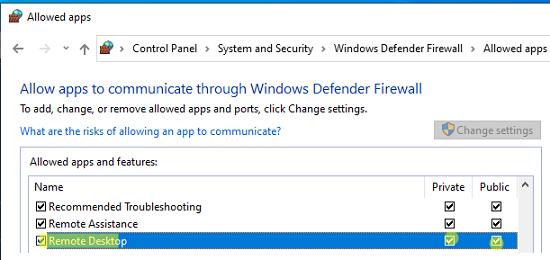 разрешить входящие rdp подключения в windows defender firewall