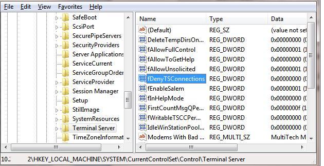 Параметр fDenyTSConnection  - включить удаленный рабочий стол