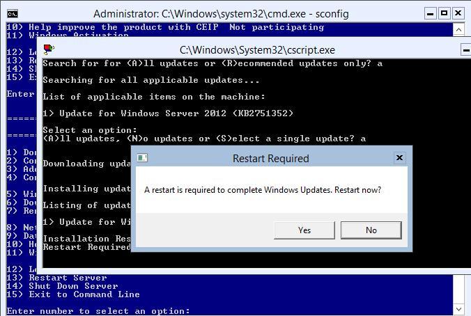 Перезагрузка сервера после установки обновлений на Windows 2012 core