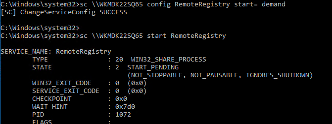 sc - включить службу RemoteRegistry из командной строки