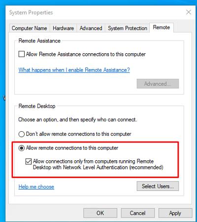 включить RDP доступ к Windows 10 из панели управления
