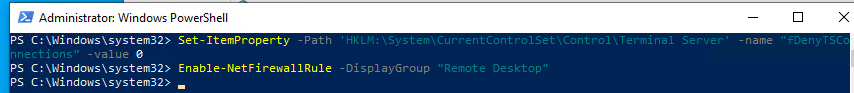 включить rdp в windows с помощью powershell