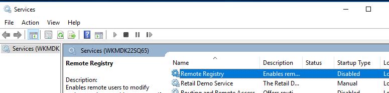 включить службу remote registry