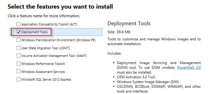 Windows 8 ADK установка deployment tools
