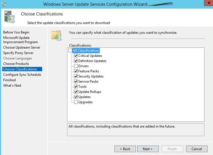 категории обновлений wsus в windows server 2016