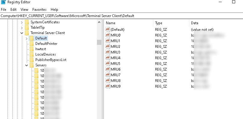Terminal Server Client MRU ветка реестра с последними RDP подключениями