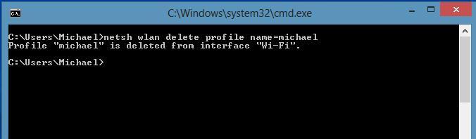 Удалить профиль беспроводной wifi сети в windows8 из командной строки