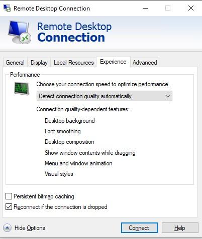 отключить Постоянное кэширование точечных рисунков в rdp сессии
