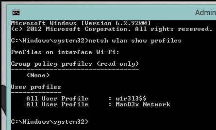 Отобразить список сохраненных профилей wifi сетей и их приоритеты в windows 8