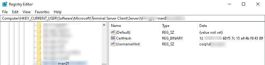 сохраненные данные rdp сервера в реестра windows