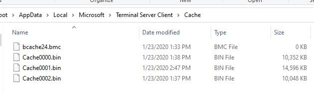 terminal server client кэшированные картинки для rdp подключения