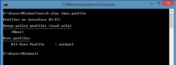 Отобразить список профилей беспроводных wifi сетей в windows 8