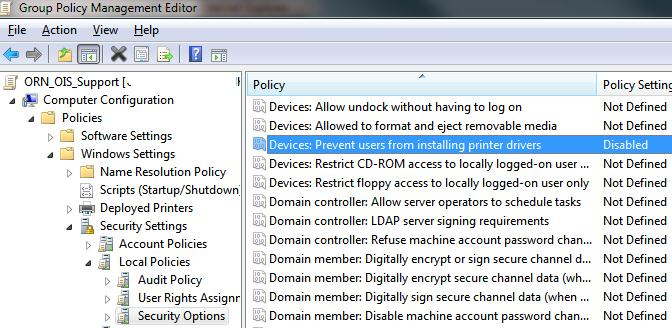 windows: как с помощью групповых политик разрешить пользователям устанавливать принтера