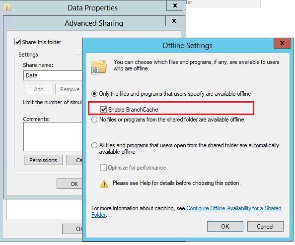 Включить branchcache для общей папки на windows server 2012