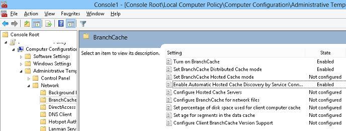 Включить branchcache в wndows 8 pro