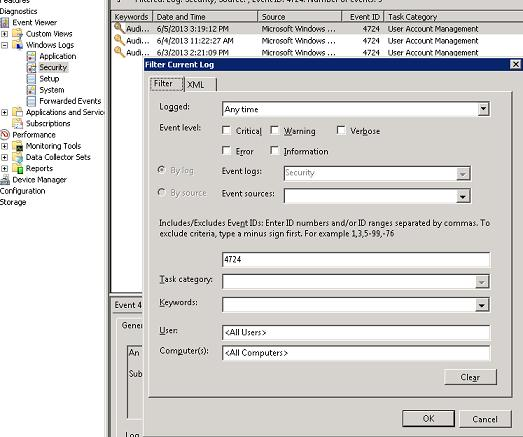 Фільтрація і пошук по ID події в журналі securiry windows