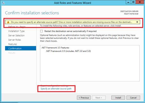 Указаывем путь к дистрибутиву .net 3.5 в windows 2012