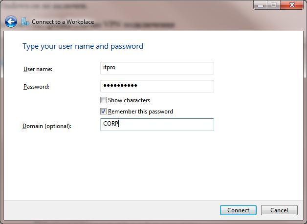 Учетные данные пользователя домена для установки vpn подключения в win7