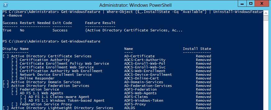 Очищаем папку wisxs в windows server 2012, удалив неиспользуемые роли