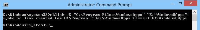 Сиволическая ссылка на каталог с WindowsApps в windows 8