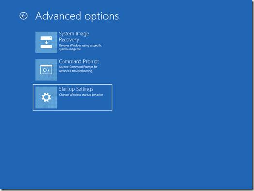 Розширене меню завантаження Windows Server 2012