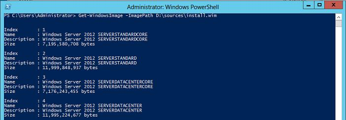 windows2012 index различных версий