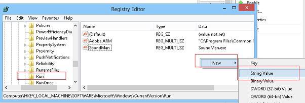 windows 8 автозагрука программ с помощью реестра