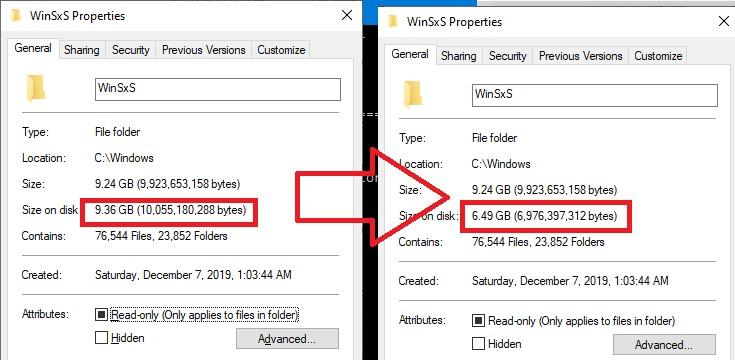 уменьшить размер каталога winsxs в windows10 с помощью сжатия