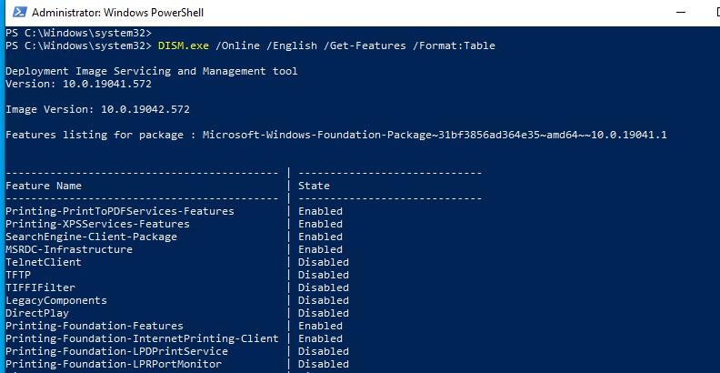 windows 10 dism get-features список установленных компонентов