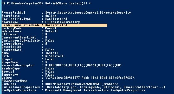 Get-SmbShare FolderEnumerationMode
