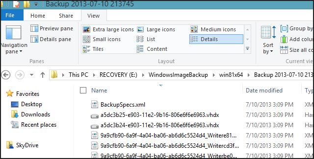 Каталог WindowsImageBackup з резервною копією win8.1