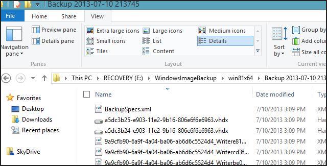 Каталог WindowsImageBackup с резервной копией win8.1