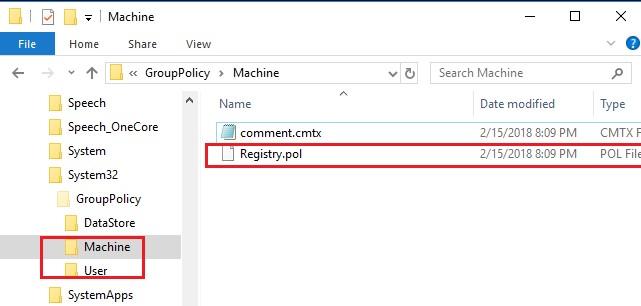 Групповые политики Windows хранятся в файлах registry.pol