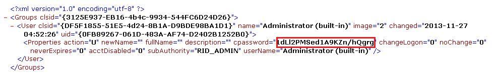 Поле cpassword в конфигурационном файле GPP