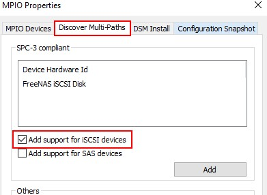 mpio windows server - включить поддержку iscsi