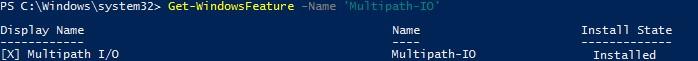 powershell проверить наличие модуля Multipath-IO