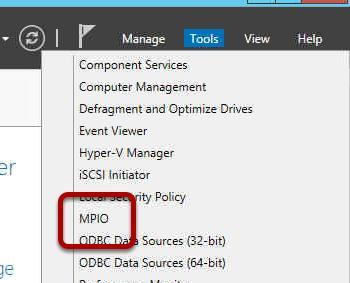 Консоль MPIO в Server Manager Tools