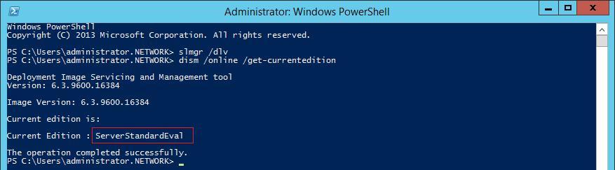 Версия windows server 2012 r2 - ServerStandartEval