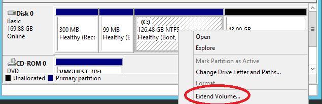 Расширить раздел в гостевой ОС Windows