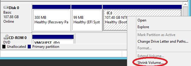 Сжимаем том в гостевой ОС Windows