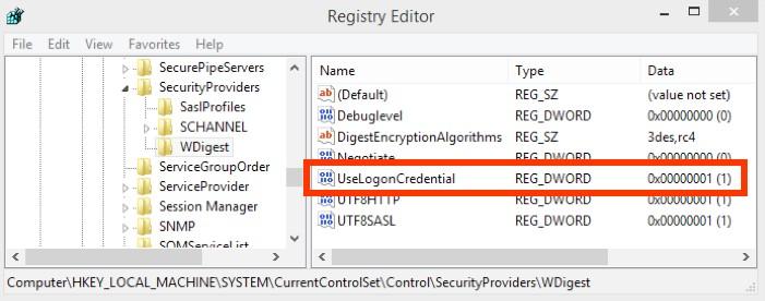 UseLogonCredential отключаем в реестре